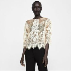 Zara Floral Lace Sheer Blouse Size M